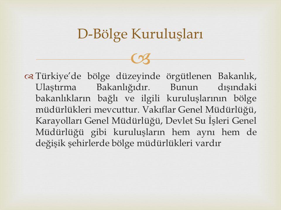   Türkiye'de bölge düzeyinde örgütlenen Bakanlık, Ulaştırma Bakanlığıdır. Bunun dışındaki bakanlıkların bağlı ve ilgili kuruluşlarının bölge müdürlü
