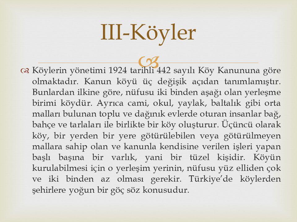   Köylerin yönetimi 1924 tarihli 442 sayılı Köy Kanununa göre olmaktadır.