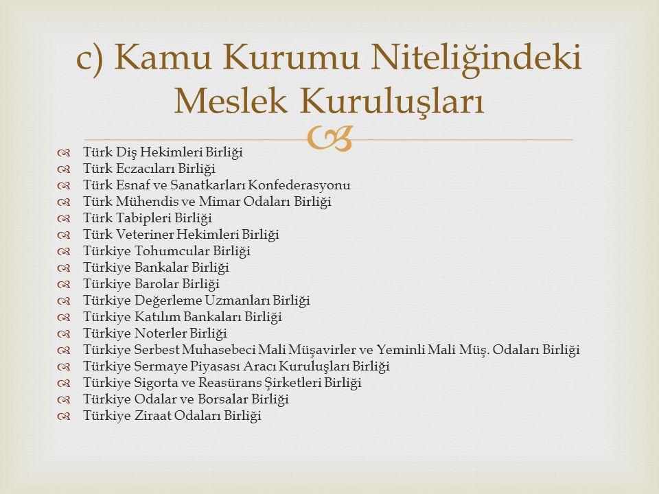   Türk Diş Hekimleri Birliği  Türk Eczacıları Birliği  Türk Esnaf ve Sanatkarları Konfederasyonu  Türk Mühendis ve Mimar Odaları Birliği  Türk T
