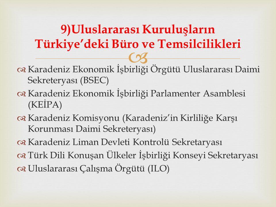   Karadeniz Ekonomik İşbirliği Örgütü Uluslararası Daimi Sekreteryası (BSEC)  Karadeniz Ekonomik İşbirliği Parlamenter Asamblesi (KEİPA)  Karadeniz Komisyonu (Karadeniz'in Kirliliğe Karşı Korunması Daimi Sekreteryası)  Karadeniz Liman Devleti Kontrolü Sekretaryası  Türk Dili Konuşan Ülkeler İşbirliği Konseyi Sekretaryası  Uluslararası Çalışma Örgütü (ILO) 9)Uluslararası Kuruluşların Türkiye'deki Büro ve Temsilcilikleri