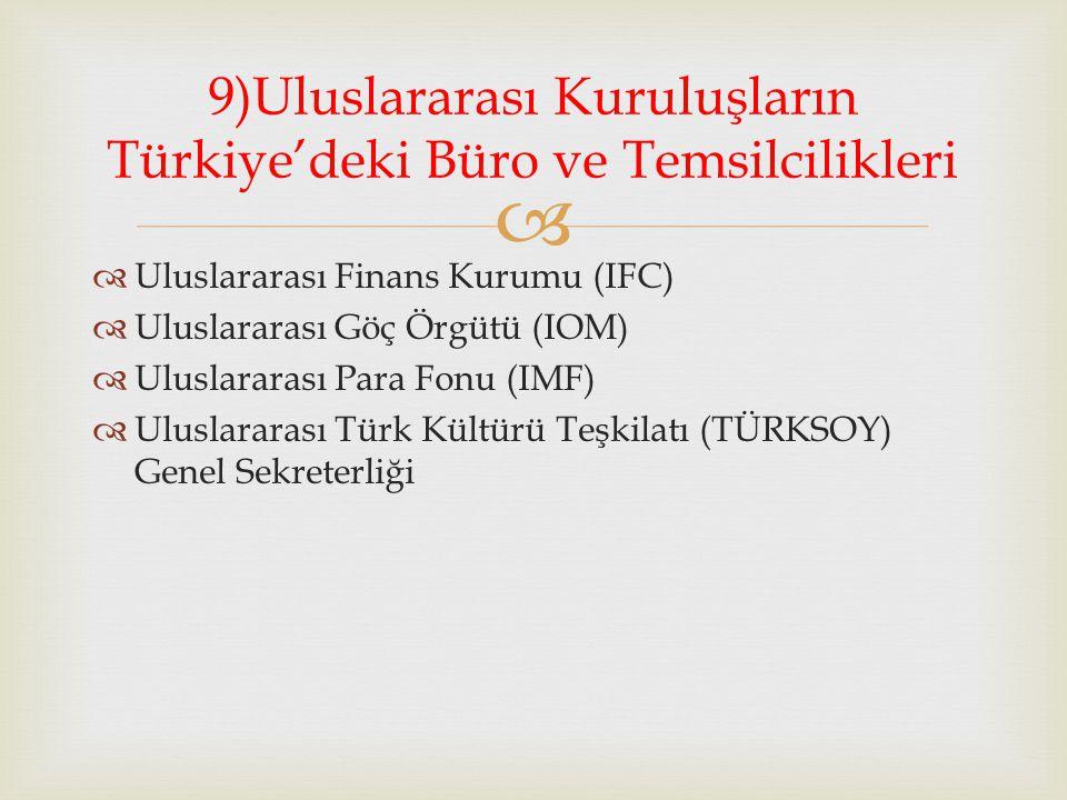   Uluslararası Finans Kurumu (IFC)  Uluslararası Göç Örgütü (IOM)  Uluslararası Para Fonu (IMF)  Uluslararası Türk Kültürü Teşkilatı (TÜRKSOY) Genel Sekreterliği 9)Uluslararası Kuruluşların Türkiye'deki Büro ve Temsilcilikleri