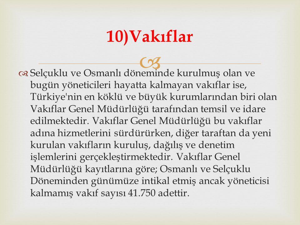   Selçuklu ve Osmanlı döneminde kurulmuş olan ve bugün yöneticileri hayatta kalmayan vakıflar ise, Türkiye'nin en köklü ve büyük kurumlarından biri