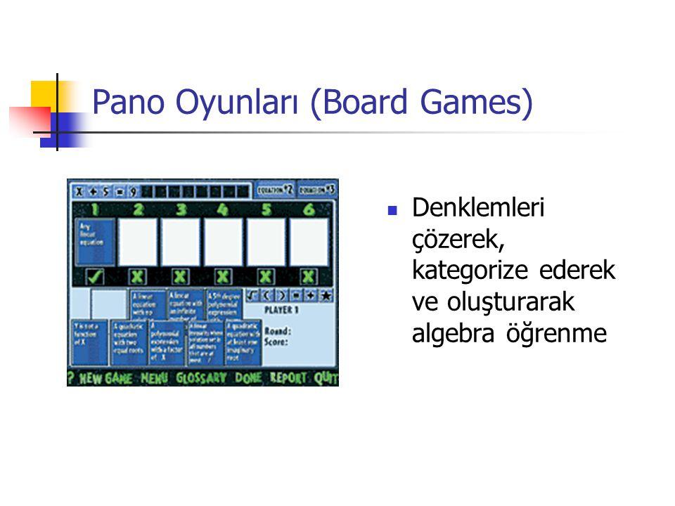 Pano Oyunları (Board Games) Denklemleri çözerek, kategorize ederek ve oluşturarak algebra öğrenme