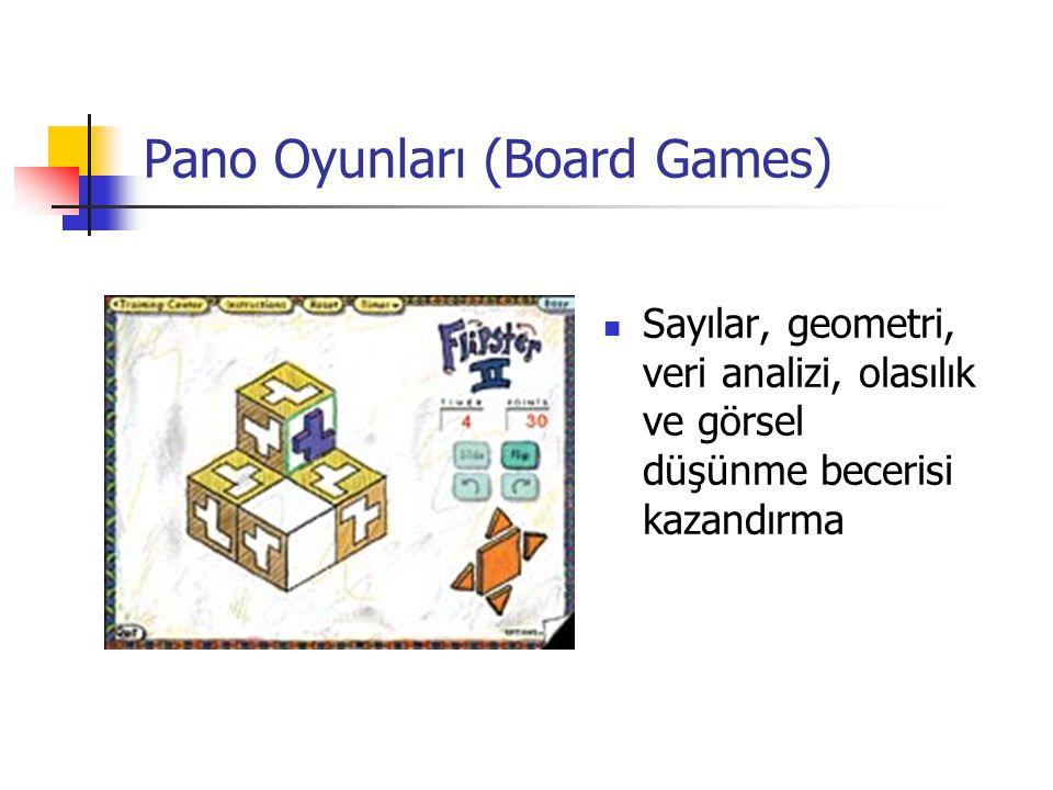 Pano Oyunları (Board Games) Sayılar, geometri, veri analizi, olasılık ve görsel düşünme becerisi kazandırma