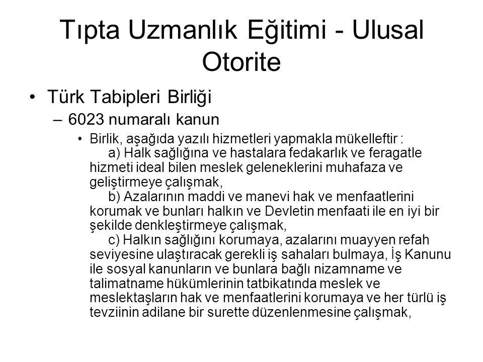 Tıpta Uzmanlık Eğitimi - Ulusal Otorite Türk Tabipleri Birliği –6023 numaralı kanun Birlik, aşağıda yazılı hizmetleri yapmakla mükelleftir : d) Halk sağlığı ve tıp meslekleri ile ilgili meseleler için resmi makamlarla karşılıklı işbirliği yapmak, e) Halk sağlığı ve tıp meslekini ilgilendiren işlerde resmi makamlardan yardım sağlamak.