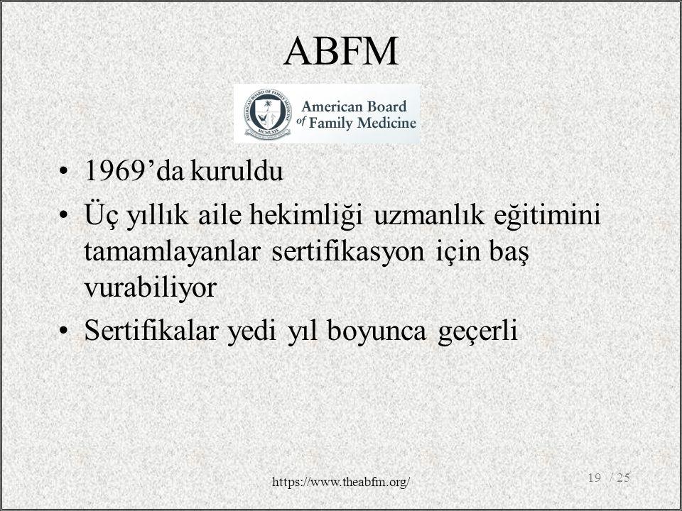 ABFM 1969'da kuruldu Üç yıllık aile hekimliği uzmanlık eğitimini tamamlayanlar sertifikasyon için baş vurabiliyor Sertifikalar yedi yıl boyunca geçerli / 2519 https://www.theabfm.org/