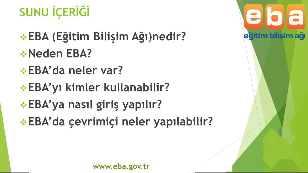 www.eba.gov.tr SUNU İÇERİĞİ  EBA (Eğitim Bilişim Ağı)nedir?  Neden EBA?  EBA'da neler var?  EBA'yı kimler kullanabilir?  EBA'ya nasıl giriş yapıl