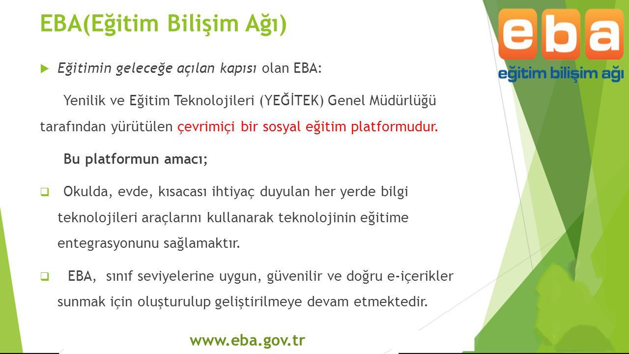www.eba.gov.tr EBA(Eğitim Bilişim Ağı)  Eğitimin geleceğe açılan kapısı olan EBA: Yenilik ve Eğitim Teknolojileri (YEĞİTEK) Genel Müdürlüğü tarafında