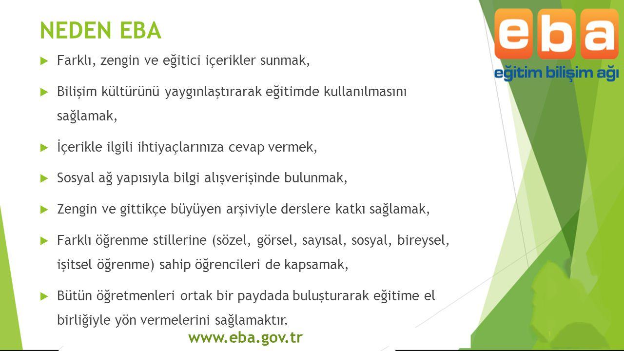 www.eba.gov.tr NEDEN EBA  Farklı, zengin ve eğitici içerikler sunmak,  Bilişim kültürünü yaygınlaştırarak eğitimde kullanılmasını sağlamak,  İçerik