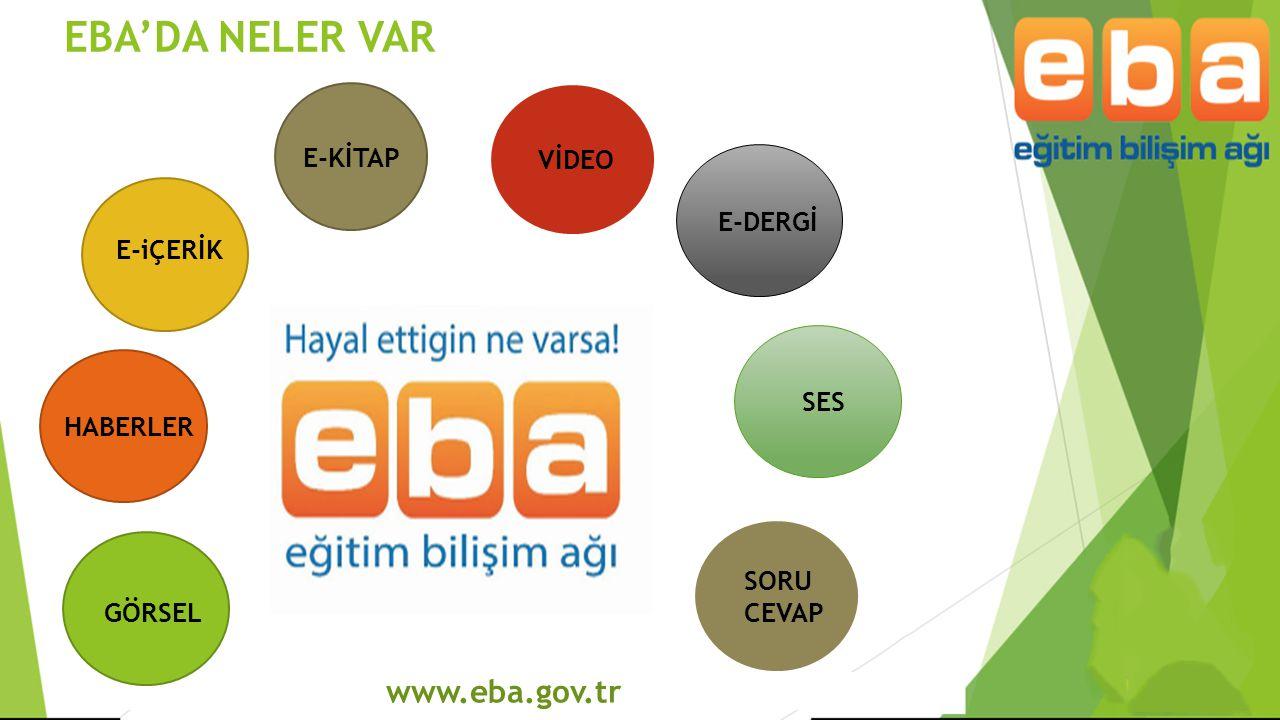 www.eba.gov.tr  Öğretmen ve öğrencilerin yaptığı birbirinden güzel çalışmaları herkesin duyması, görmesi, örnek alarak daha da iyisini geliştirebilmesi amacıyla tasarlanan bir modüldür.