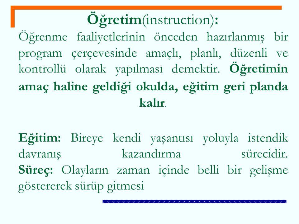 Öğretim(instruction): Öğrenme faaliyetlerinin önceden hazırlanmış bir program çerçevesinde amaçlı, planlı, düzenli ve kontrollü olarak yapılması demek