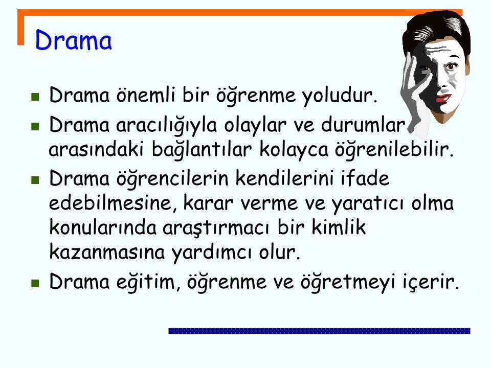 Drama Drama önemli bir öğrenme yoludur. Drama aracılığıyla olaylar ve durumlar arasındaki bağlantılar kolayca öğrenilebilir. Drama öğrencilerin kendil