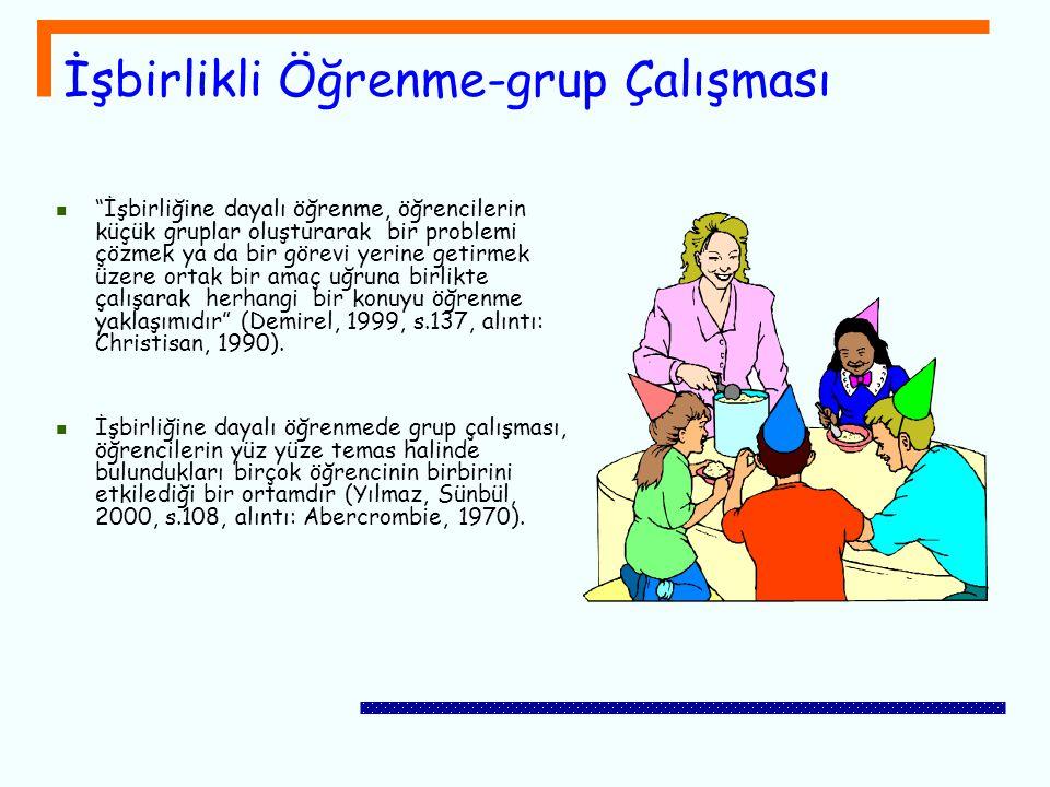 """İşbirlikli Öğrenme-grup Çalışması """"İşbirliğine dayalı öğrenme, öğrencilerin küçük gruplar oluşturarak bir problemi çözmek ya da bir görevi yerine geti"""