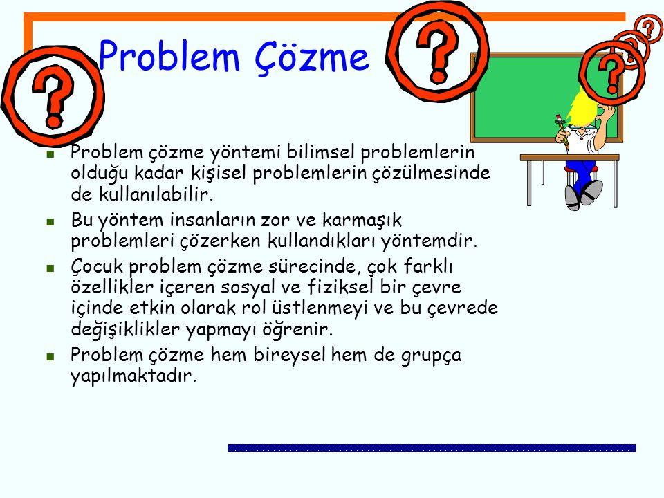 Problem Çözme Problem çözme yöntemi bilimsel problemlerin olduğu kadar kişisel problemlerin çözülmesinde de kullanılabilir. Bu yöntem insanların zor v