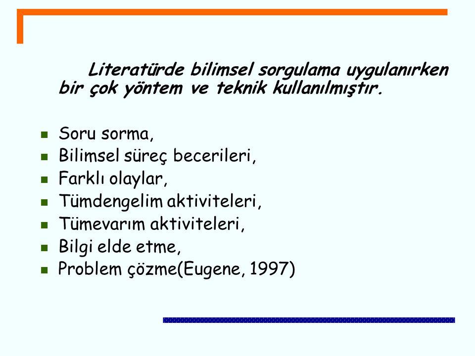 Literatürde bilimsel sorgulama uygulanırken bir çok yöntem ve teknik kullanılmıştır. Soru sorma, Bilimsel süreç becerileri, Farklı olaylar, Tümdengeli