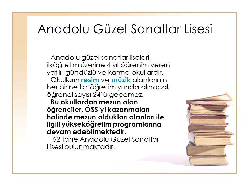 Anadolu Güzel Sanatlar Lisesi Anadolu güzel sanatlar liseleri, ilköğretim üzerine 4 yıl öğrenim veren yatılı, gündüzlü ve karma okullardır. Okulların