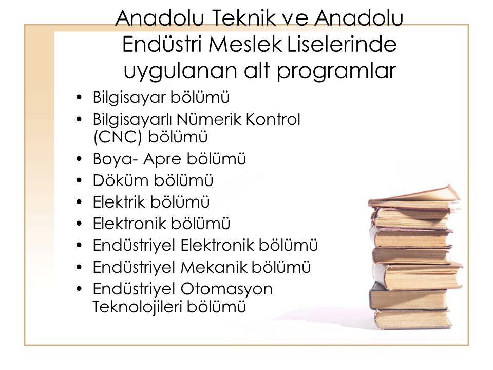 Anadolu Teknik ve Anadolu Endüstri Meslek Liselerinde uygulanan alt programlar Bilgisayar bölümü Bilgisayarlı Nümerik Kontrol (CNC) bölümü Boya- Apre