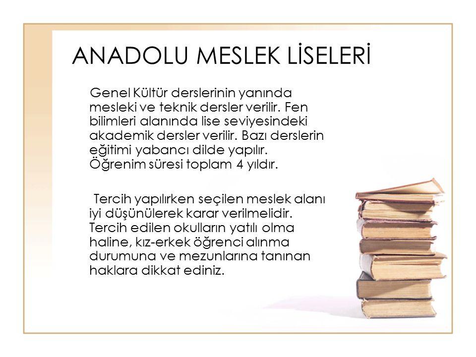 ANADOLU MESLEK LİSELERİ Genel Kültür derslerinin yanında mesleki ve teknik dersler verilir. Fen bilimleri alanında lise seviyesindeki akademik dersler