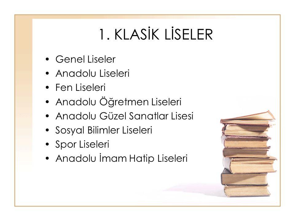 Genel Liseler Türk Millî Eğitiminin amaçları doğrultusunda, öğrencilere ortaöğretim seviyesinde asgari genel kültür veren ve yüksek öğretime öğrenci hazırlayan öğretim kurumlarıdır.