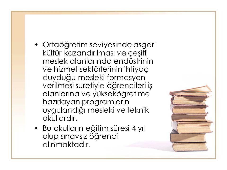 Ortaöğretim seviyesinde asgari kültür kazandırılması ve çeşitli meslek alanlarında endüstrinin ve hizmet sektörlerinin ihtiyaç duyduğu mesleki formasy