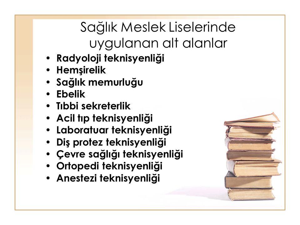 Sağlık Meslek Liselerinde uygulanan alt alanlar Radyoloji teknisyenliği Hemşirelik Sağlık memurluğu Ebelik Tıbbi sekreterlik Acil tıp teknisyenliği La
