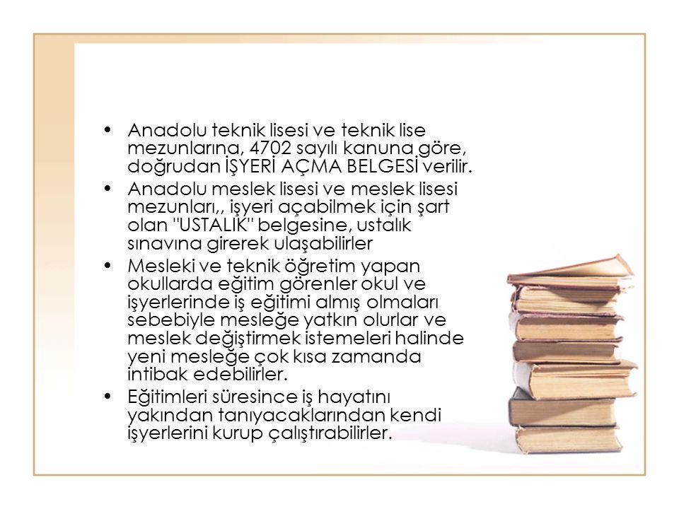 Anadolu teknik lisesi ve teknik lise mezunlarına, 4702 sayılı kanuna göre, doğrudan İŞYERİ AÇMA BELGESİ verilir. Anadolu meslek lisesi ve meslek lises