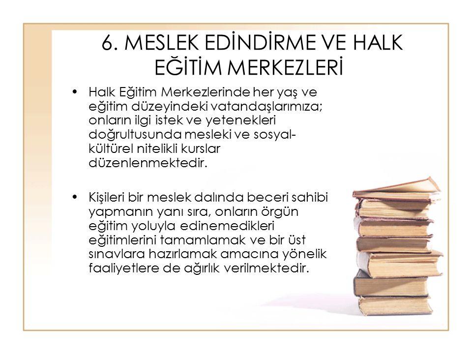 6. MESLEK EDİNDİRME VE HALK EĞİTİM MERKEZLERİ Halk Eğitim Merkezlerinde her yaş ve eğitim düzeyindeki vatandaşlarımıza; onların ilgi istek ve yetenekl