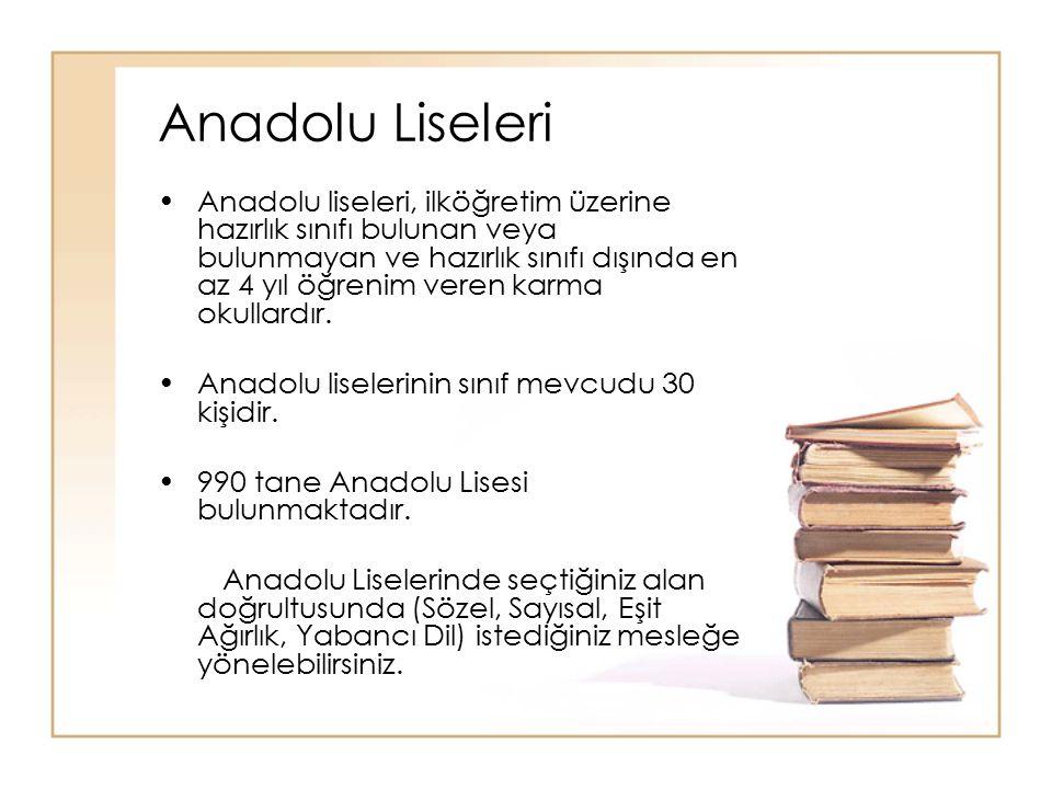 Anadolu Meslek liseleri ile Meslek liseleri arasındaki fark yabancı dil ders saatlerinden kaynaklanmaktadır.