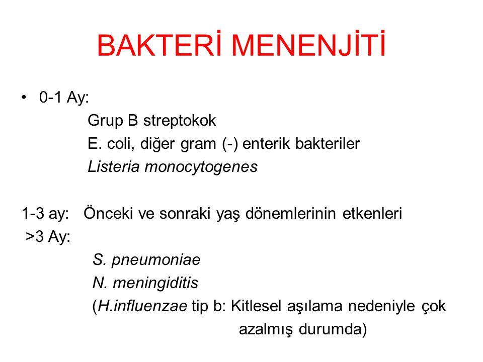 BAKTERİ MENENJİTİ 0-1 Ay: Grup B streptokok E.