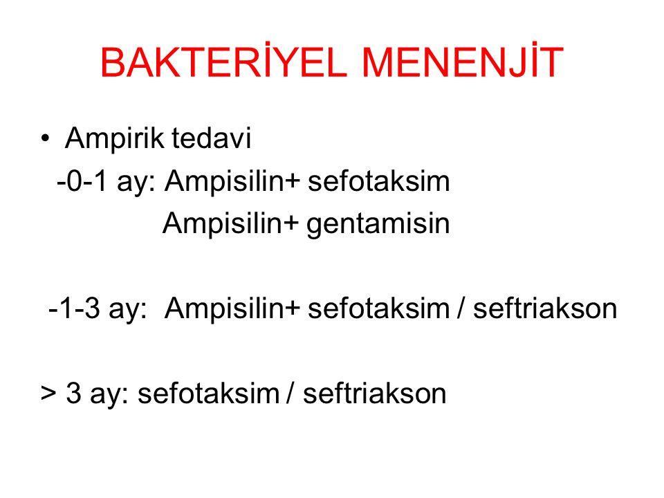 BAKTERİYEL MENENJİT Ampirik tedavi -0-1 ay: Ampisilin+ sefotaksim Ampisilin+ gentamisin -1-3 ay: Ampisilin+ sefotaksim / seftriakson > 3 ay: sefotaksim / seftriakson