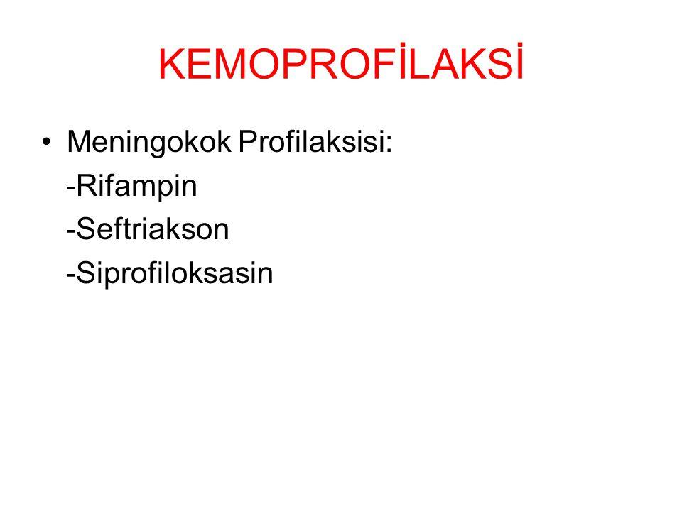 KEMOPROFİLAKSİ Meningokok Profilaksisi: -Rifampin -Seftriakson -Siprofiloksasin