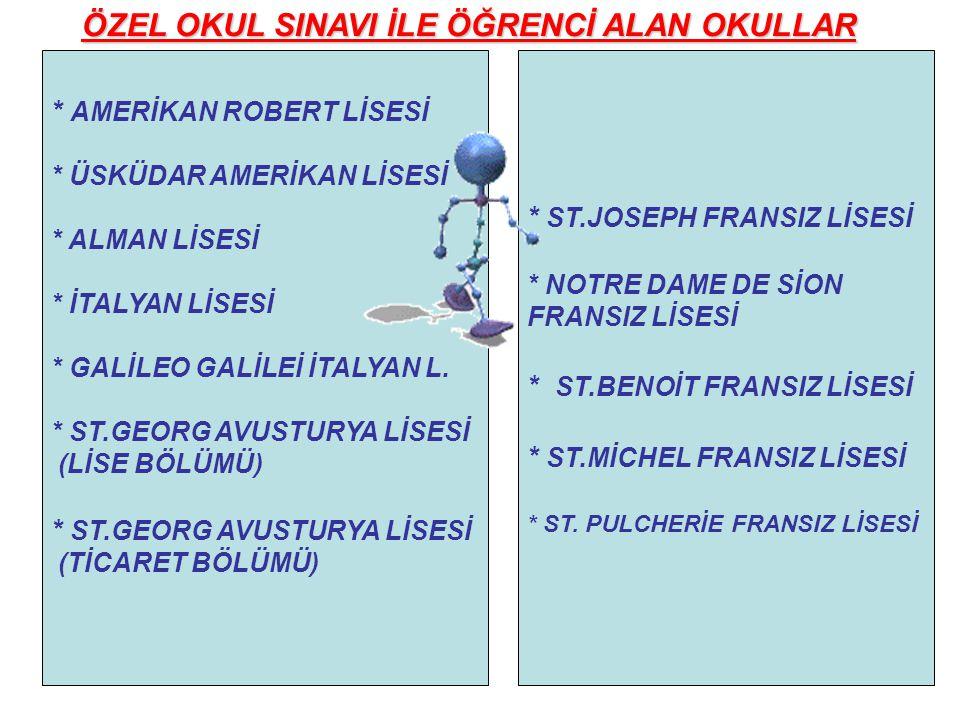 * ST.JOSEPH FRANSIZ LİSESİ * NOTRE DAME DE SİON FRANSIZ LİSESİ * ST.BENOİT FRANSIZ LİSESİ * ST.MİCHEL FRANSIZ LİSESİ * ST. PULCHERİE FRANSIZ LİSESİ *