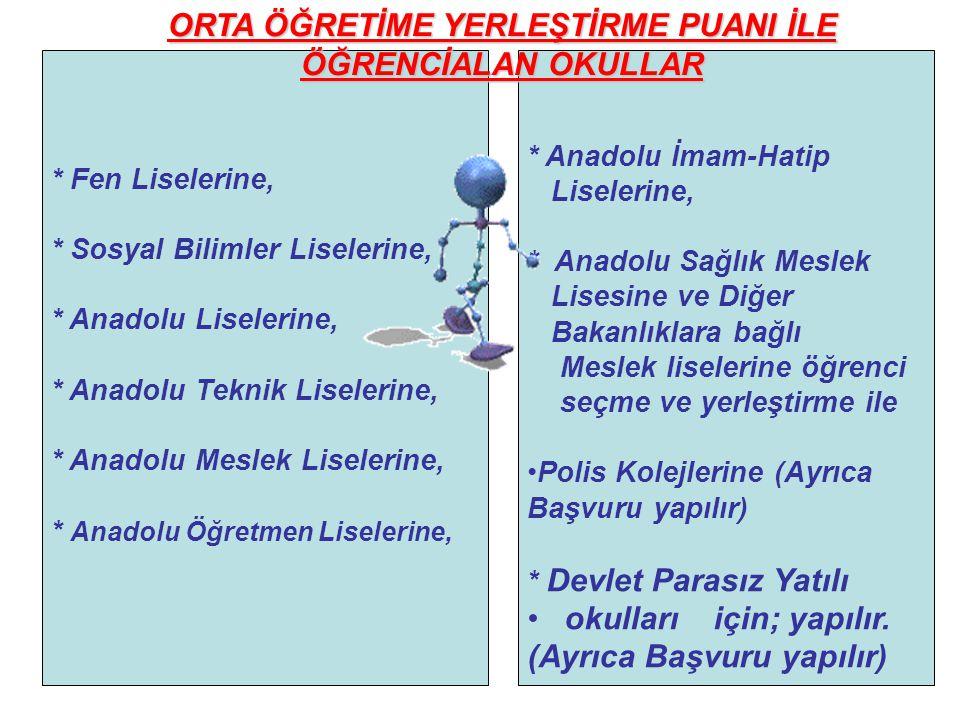 * Anadolu İmam-Hatip Liselerine, * Anadolu Sağlık Meslek Lisesine ve Diğer Bakanlıklara bağlı Meslek liselerine öğrenci seçme ve yerleştirme ile Polis