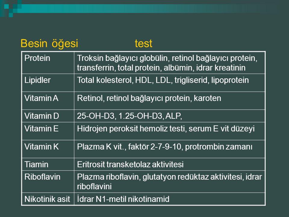 ProteinTroksin bağlayıcı globülin, retinol bağlayıcı protein, transferrin, total protein, albümin, idrar kreatinin LipidlerTotal kolesterol, HDL, LDL,