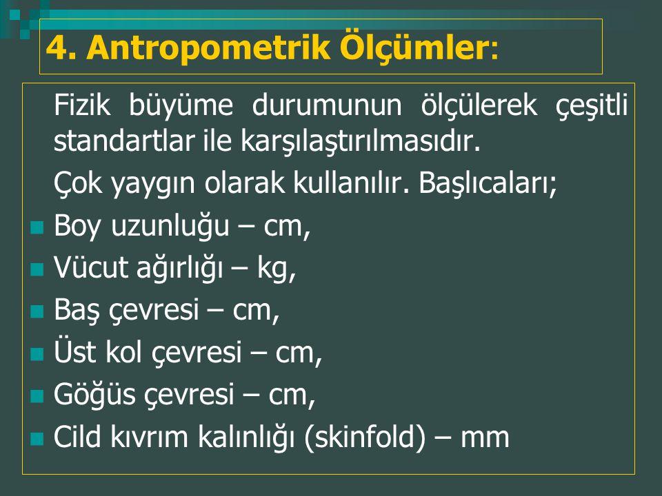 4. Antropometrik Ölçümler : Fizik büyüme durumunun ölçülerek çeşitli standartlar ile karşılaştırılmasıdır. Çok yaygın olarak kullanılır. Başlıcaları;