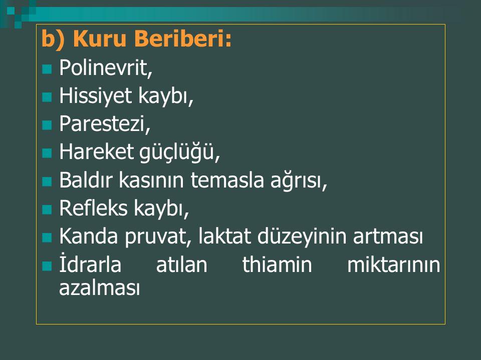 b) Kuru Beriberi: Polinevrit, Hissiyet kaybı, Parestezi, Hareket güçlüğü, Baldır kasının temasla ağrısı, Refleks kaybı, Kanda pruvat, laktat düzeyinin
