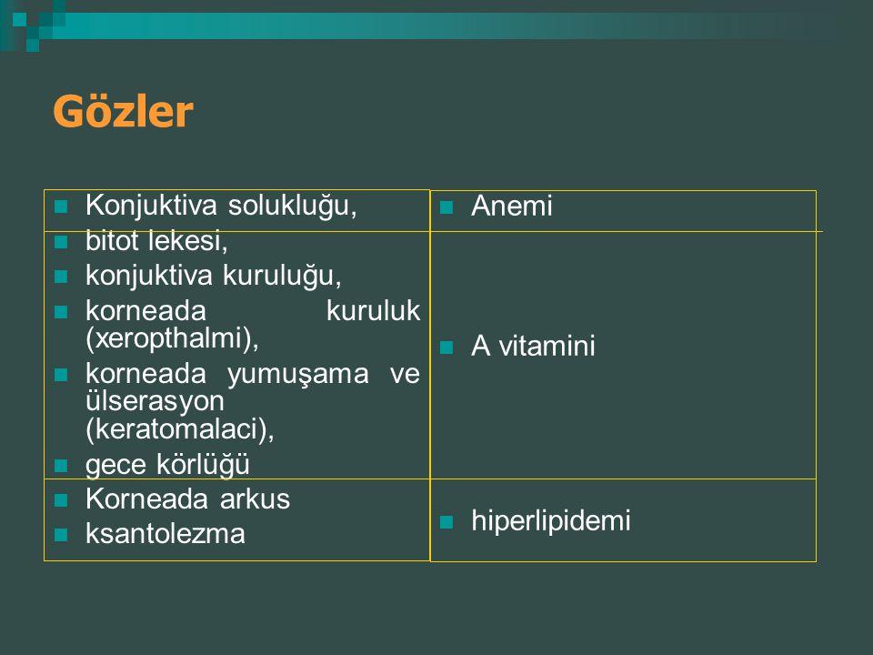 Gözler Konjuktiva solukluğu, bitot lekesi, konjuktiva kuruluğu, korneada kuruluk (xeropthalmi), korneada yumuşama ve ülserasyon (keratomalaci), gece k