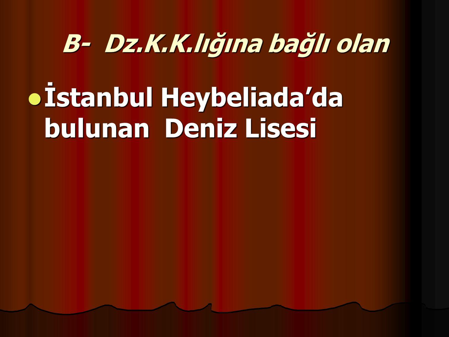 B- Dz.K.K.lığına bağlı olan İstanbul Heybeliada'da bulunan Deniz Lisesi İstanbul Heybeliada'da bulunan Deniz Lisesi