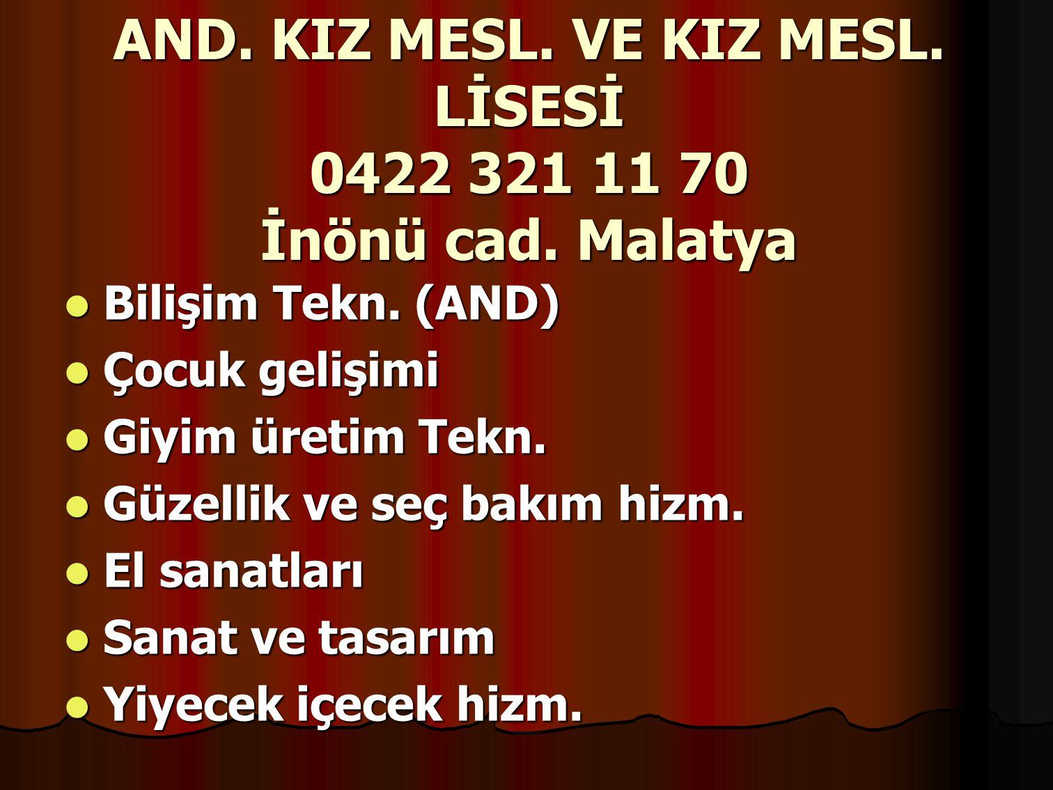 AND.KIZ MESL. VE KIZ MESL. LİSESİ 0422 321 11 70 İnönü cad.