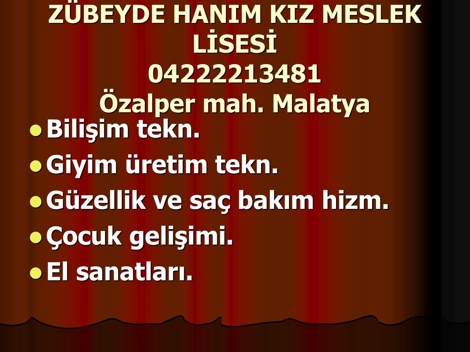 ZÜBEYDE HANIM KIZ MESLEK LİSESİ 04222213481 Özalper mah.