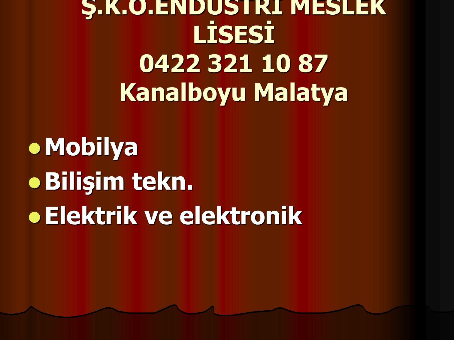 Ş.K.Ö.ENDÜSTRİ MESLEK LİSESİ 0422 321 10 87 Kanalboyu Malatya Mobilya Mobilya Bilişim tekn.