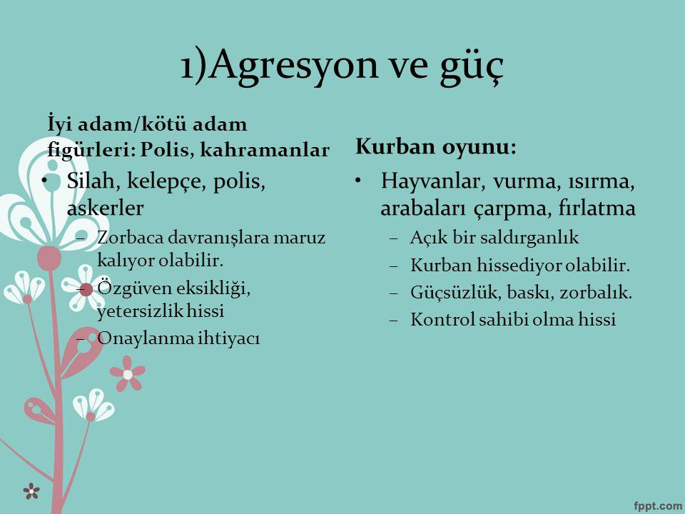 1)Agresyon ve güç İyi adam/kötü adam figürleri: Polis, kahramanlar Silah, kelepçe, polis, askerler –Zorbaca davranışlara maruz kalıyor olabilir.