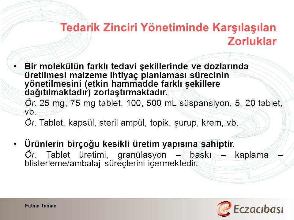 Fatma Taman Bir molekülün farklı tedavi şekillerinde ve dozlarında üretilmesi malzeme ihtiyaç planlaması sürecinin yönetilmesini (etkin hammadde farklı şekillere dağıtılmaktadır) zorlaştırmaktadır.