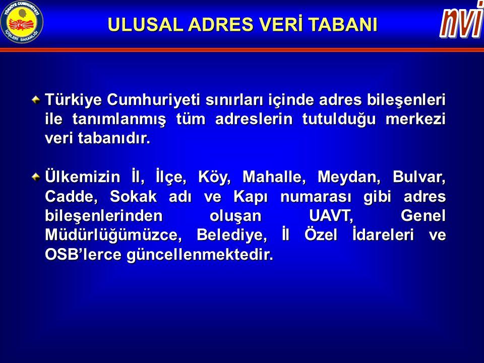 Türkiye Cumhuriyeti sınırları içinde adres bileşenleri ile tanımlanmış tüm adreslerin tutulduğu merkezi veri tabanıdır. Ülkemizin İl, İlçe, Köy, Mahal
