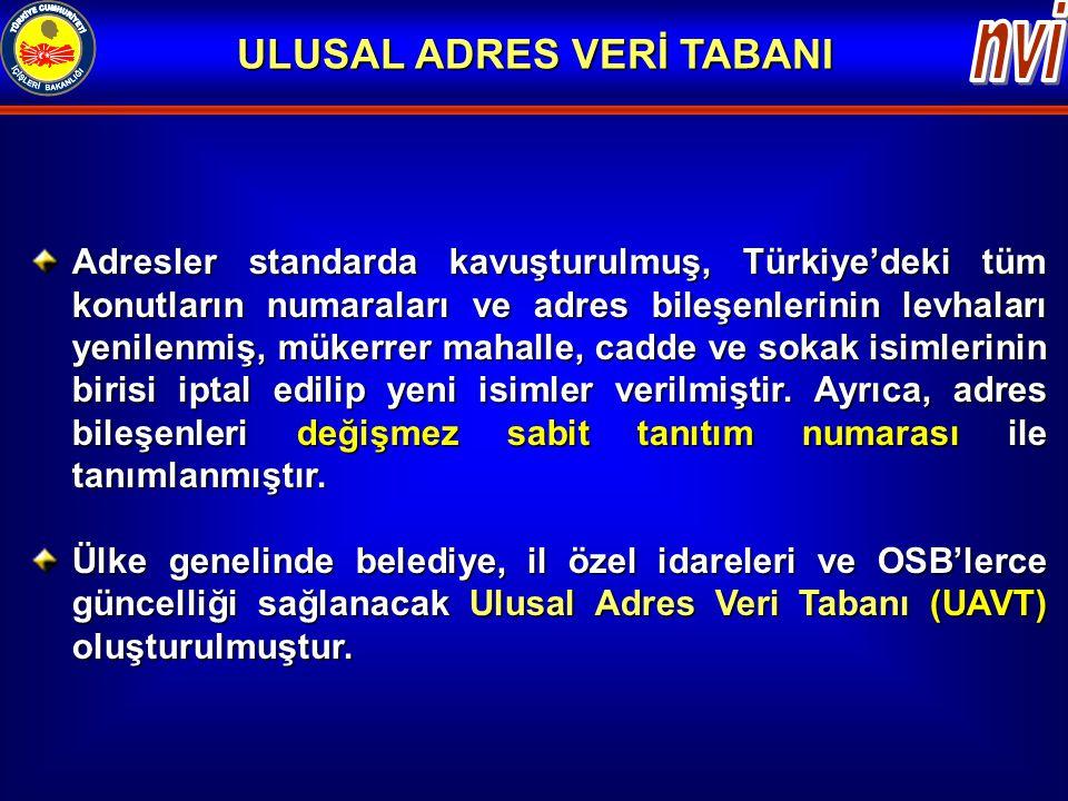 Adresler standarda kavuşturulmuş, Türkiye'deki tüm konutların numaraları ve adres bileşenlerinin levhaları yenilenmiş, mükerrer mahalle, cadde ve soka