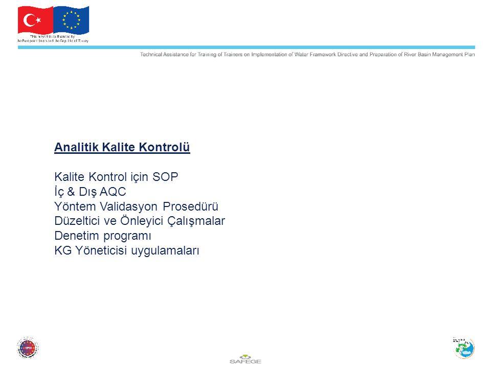 Analitik Kalite Kontrolü Kalite Kontrol için SOP İç & Dış AQC Yöntem Validasyon Prosedürü Düzeltici ve Önleyici Çalışmalar Denetim programı KG Yönetic