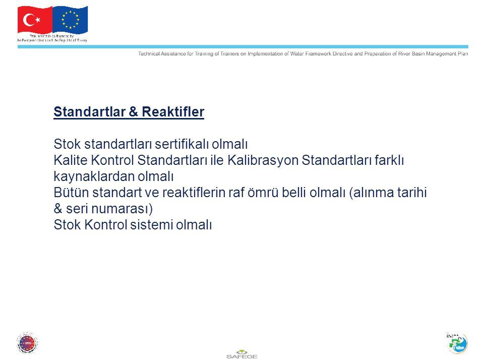 Standartlar & Reaktifler Stok standartları sertifikalı olmalı Kalite Kontrol Standartları ile Kalibrasyon Standartları farklı kaynaklardan olmalı Bütü