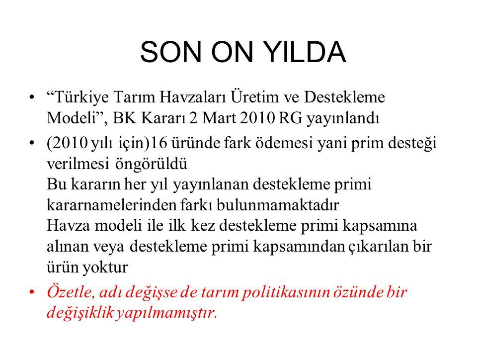 """SON ON YILDA """"Türkiye Tarım Havzaları Üretim ve Destekleme Modeli"""", BK Kararı 2 Mart 2010 RG yayınlandı (2010 yılı için)16 üründe fark ödemesi yani pr"""
