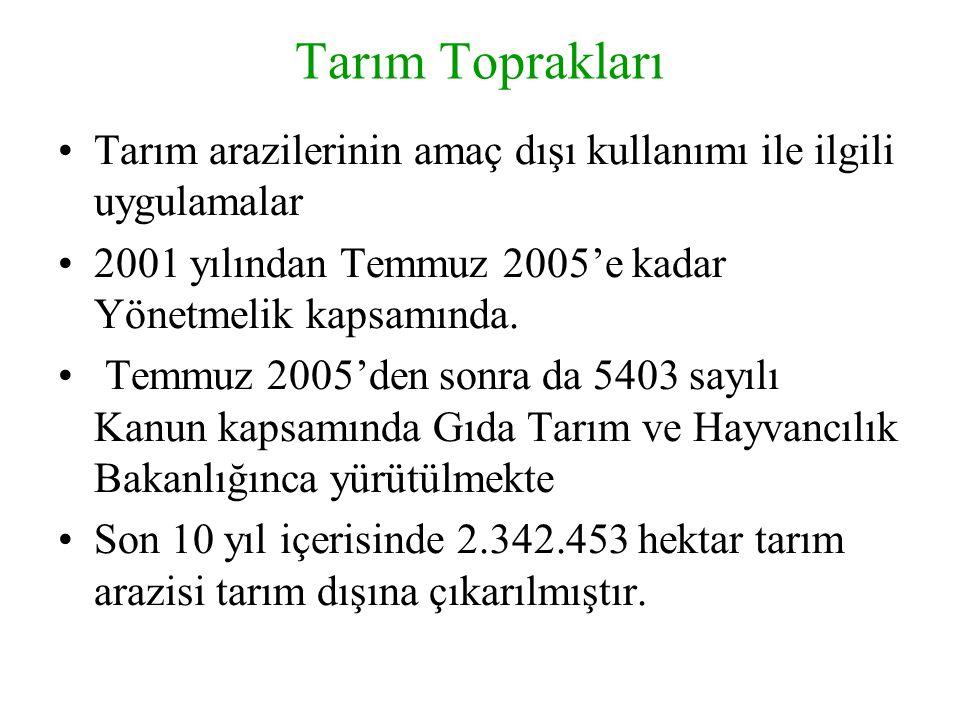Tarım Toprakları Tarım arazilerinin amaç dışı kullanımı ile ilgili uygulamalar 2001 yılından Temmuz 2005'e kadar Yönetmelik kapsamında. Temmuz 2005'de
