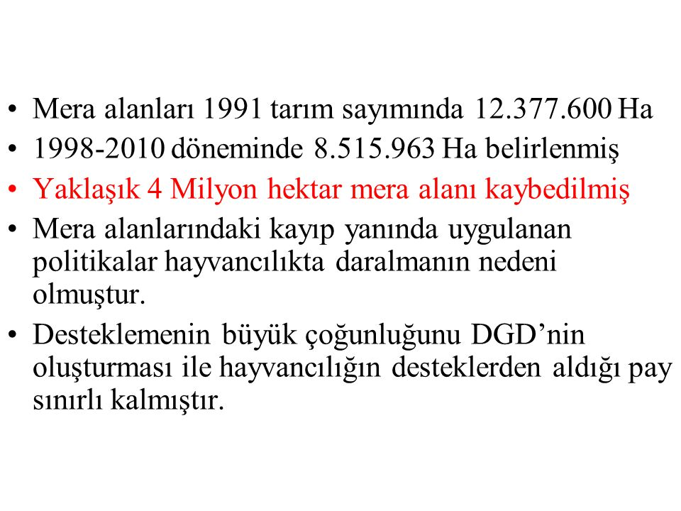 Mera alanları 1991 tarım sayımında 12.377.600 Ha 1998-2010 döneminde 8.515.963 Ha belirlenmiş Yaklaşık 4 Milyon hektar mera alanı kaybedilmiş Mera ala